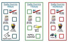 idea, printable chore charts, kids chore charts, printabl chore, clean