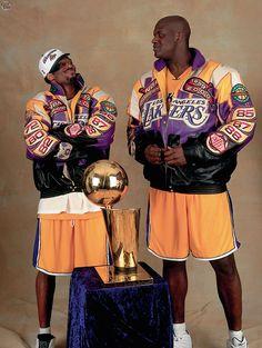 Kobe Bryant and Shaq after winning the NBA finals