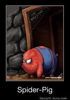 funni stuff, spiders, puerco araña, swings, spider pig
