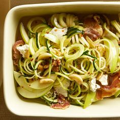 Garlicky Zucchini Noodles? Count us in! Get more of our favorite August 2014 recipes here: http://www.bhg.com/recipes/from-better-homes-and-gardens/august-2014-recipes/?socsrc=bhgpin080514garlickyzucchininoodles&page=8