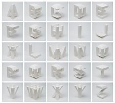 Lo Siento Studio - 4D Typography is the result of intersectioning, in an orthogonal way in space, two extrusions of the same character, which allows the spectator to read it from, minimum, two different positions in space.
