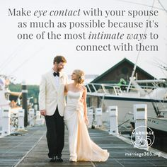 Make eye contact in the bedroom, on date nights, and while talking. Marriage365 seeks to inspire, enrich and challenge couples in the adventure of marriage. Check out our FB, IG and website for more information. #marriage365 www.marriage365.org