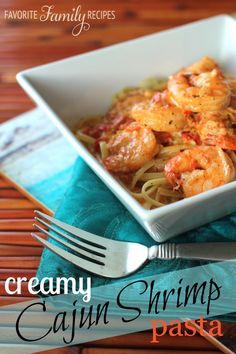 Creamy Cajun Shrimp Pasta from favfamilyrecipes.com #recipes #cajun #shrimp #pasta