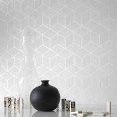 Graham & Brown Cubix Wallpaper White / Mica