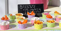 Bunny Themed Snacks, including Marshmallow Bunny Tails and Mac and Cheese Bunny Pies