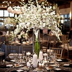 The vases were clear, black, or white and all were filled with white flowers.