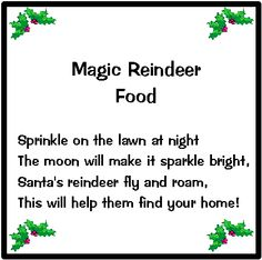 Magic Christmas Reindeer food (we include oats, colored sprinkles and ...