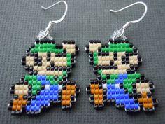 Handmade Seed Bead Mini Luigi Earrings by Pixelosis