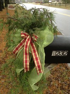 Christmas Mailbox Decoration - Sage Green Deco Mesh Bow with Cranberry and Off White Plaid Ribbon top off bunches of softbEvergreens.