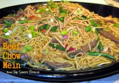 A hearty platter of easy-to-make Homemade Beef Chow Mein stirfry