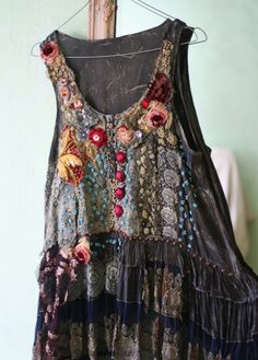 RESERVED for JUDY---Vagabond, bohemian romantic tunic, lagenlook, hand beaded and embroidered altered with antique laces, vintage trims