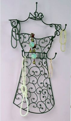 Wire jewellery holder mannequin | On the wall, of cupboard door.