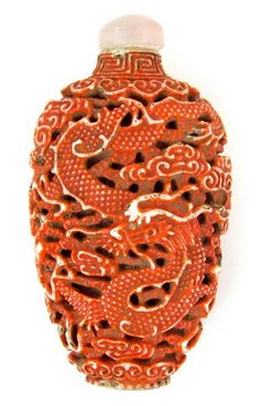 18th Century Carved Porcelain Snuff Bottle - $3300.