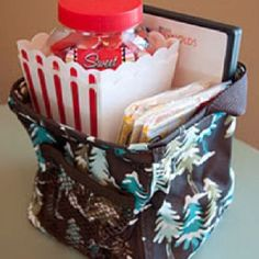"Great gift idea! Littles Carry All Caddy from Thirty One with a ""date night"" theme! Just add pop corn, DVD, and a little candy and you've got date night ready to Give to you favorite couples!  www.mythirtyone.com/sarahotto"