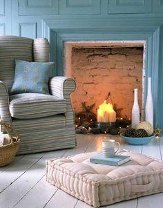 beachy fireplace