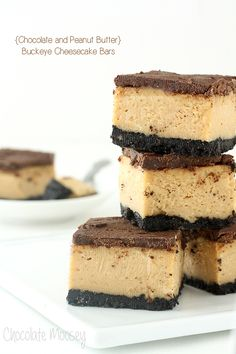 Buckeye (Chocolate and Peanut Butter) Cheesecake Bars will make you wish that every day was Chocolate Peanut Butter Day.