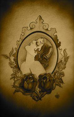 Vintage cameo tattoo