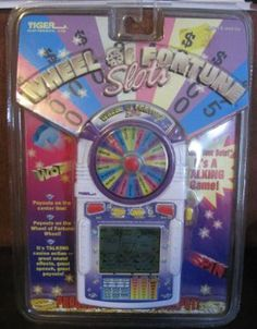 "Wheel of Fortune Slots by Tiger Electronics. $54.99. Its talking casino action, Wheel of Fortune style; Payouts on center line, Payouts on the Wheel of Fortune wheel; Ages 8+; Progressive Super Jackpot. Amazon.com                There's no Vanna and no fill-in-the-blank puzzle, but the Wheel  of Fortune Slots gets back to basics with the classic Vegas game. Bet  one, two, or three ""coins"" (the game maker cleverly avoids  international currency issues), then pr..."