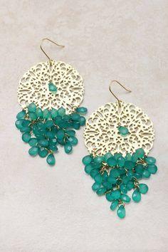 ❥ Paris Green Manuella Chandelier Earrings