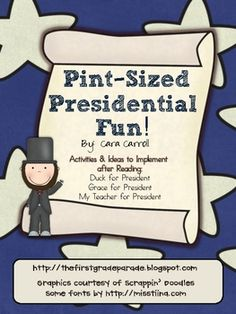 """This 60 page mini unit is full of literacy & math activities to implement into your classroom after reading the books """"Duck for President"""", """"Grace for President"""", and """"My Teacher for President""""."""