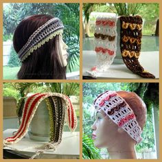 Free crocheting pattern: different headbands buttoned and tied