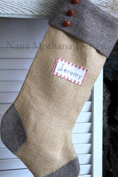 Manly Montana Christmas Vintage Stocking, Personalized, Burlap, Wool, Buttons