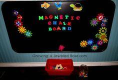 DIY Magnetic Chalk Board & toddler toy