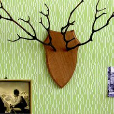 Wall hanging DEAR DEER. antlers. branches. faux taxidermy. inspiration.