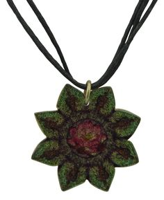 Lotus mandala pendant necklace handmade in the Philippines. Available at BuddhaGroove.com.
