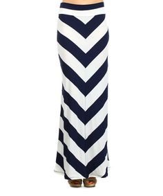 Another great find on #zulily! Navy & White Chevron Maxi Skirt #zulilyfinds