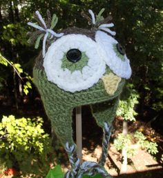 Owl Ear Flap Hat ... Sage green and Brown  by sweetpeacollections, $20.00