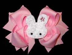Easter Bunny Hair Bow Boutique Layered by MyBellaBellaBowtique, $6.95