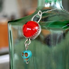 Sterling Silver and Vintage Lucite Necklace - Day of The Dead, by lovestrucksoul at Etsy