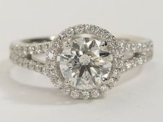 Split Shank Floating Halo Diamond Engagement Ring in 14k White Gold | #Engagement #BlueNile
