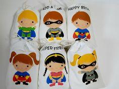 "Muslin Favor Bags Super Heroes Birthday bags Boys and Girls for Treats or small gifts Personalized 5"" x 7"" or 6"" x 8"" Qty 6"