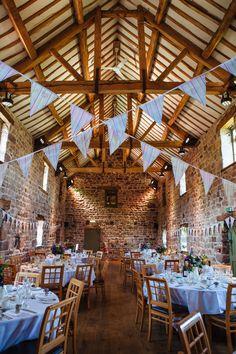 Beautifully decorated wedding barn