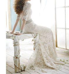 Vintage Mermaid Wedding Dress Lace Trumpet Brush by Swarovski169, $179.00