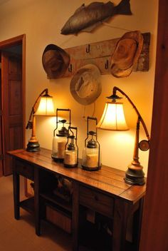 Loving Lodge Living, Exit of the home prior to heading to the lake. Created a functional but fun space to hang hat before getting in the sun. , Basements Design