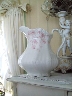 vintage pitcher shabby chic pink rose