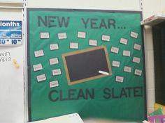 New Year bulletin board--ooo and i have that cute dollar store chalkboard....