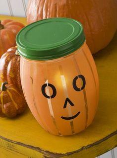 Glass Painted Pumpkin Lantern