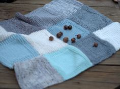 Soothing blues and grays in this pretty swatch blanket from Plymouth Yarn.