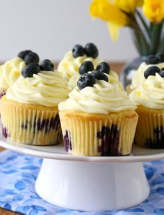 Blueberry Recipes - Lemon Blueberry Cupcakes