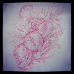 Custom tattoo sketch by Jessica Wright, Capital Tattoo. IG: jackassica #compass #waterlily #filigree