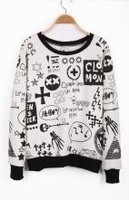 #SheInside  White Long Sleeve Sign Print Pullover Sweatshirt
