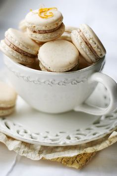 Orange clove chocolate macarons