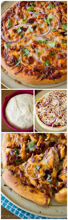 The best Homemade BBQ Chicken Pizza. Ditch the delivery, this pizza will be your new favorite!