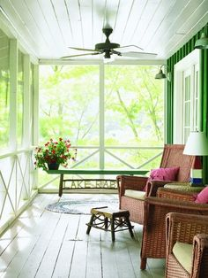 screen porches, lake houses, house design, home projects, ceiling fans, green, ceilings, porch railings, screened porches