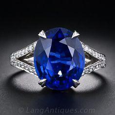 7.14 Carat Sapphire and Diamond Ring