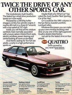 cool vintage auto advertisement vintag car, auto advertis, classic cars, audi quatro, quatro car, car commerci, audi quattro, car advert